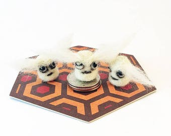 Tiny Monster In A Jar - Needle Felted SNOW BEAST LARVAE - Felt Yeti Bigfoot - Fiber Art - Unusual Father's Day Gift - Unique gift