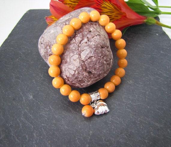 Orange Panacolour glass bead stretch bracelet  apricot orange beaded stretch charm bracelet