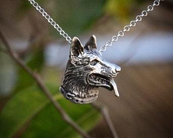 German Shepherd Necklace,  shepherd necklace, dog necklace, shepherd pendant, dog pendant, sterling necklace,
