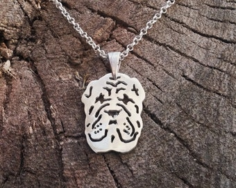 Sterling silver Shar Pei Necklace, Shar Pei Necklace, Shar Pei Pendant, Shar Pei Gift, Silver Shar Pei, Sterling Shar Pei, Shar Pei