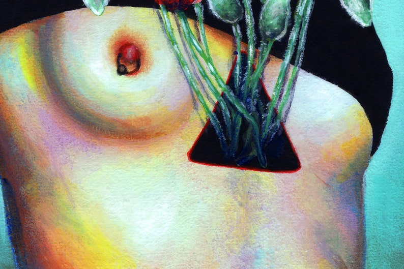 Erotic female portrait surrealism canvas print
