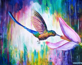 Giclee print on canvas hand-embellished with acrylic paint, colibri and flower painting, colorful rainbow art