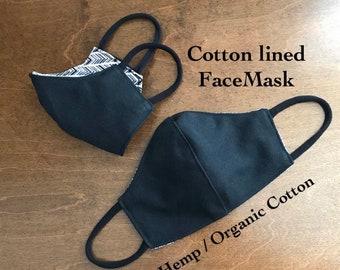 Black Hemp Face Mask