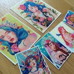 Peony prints set, Mermaid art, Pop surrealism art,Aceo Mini set prints, giclee fine art archival prints, sea art,nursery art, wall decor art