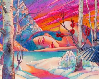Armonia archival hand embellished limited edition print winter landscape blu jay 17.5x9.5 pop surrealism art