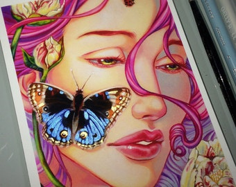 The Beauty within,Limited edition, archival fine art print,Fairy art, butterfly peonies art,artwork pop surrealism art