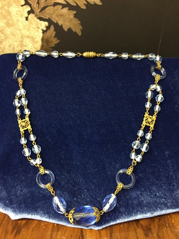 Czech Sapphire Blue Crystal Floral Necklace  \u2013  Large Pendant Art Deco Era 1930s Jewelry