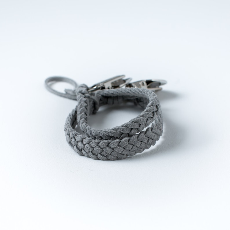 Braided Suede Leather Pacifier Clip Grey