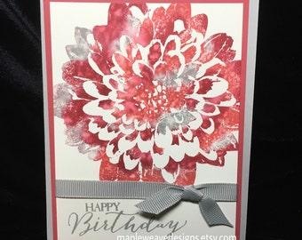Dahlia Happy Birthday Handmade Card