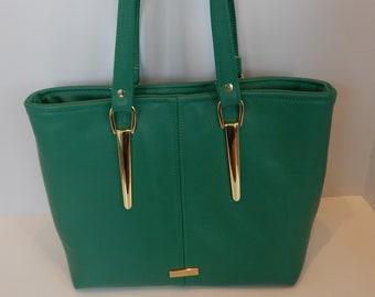 Malachite Leather Handbag, Miss Maggie Leather Handbag, READY TO SHIP