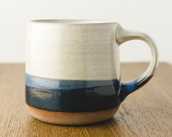 Pottery Mug in Blue and Cream White, Handmade Modern Ceramic Cup, Coffee Lover's Gift