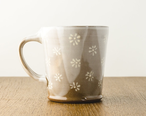 Pottery Mug in Brown and White with a Floral Design, Handmade Modern Ceramic Gift
