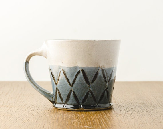 Pottery Mug, Blue and White Mug, Handmade Modern Pottery