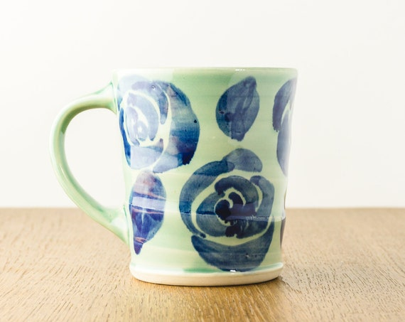 Handmade Pottery Mug with Green and Blue Flower Design,  Handmade Ceramic Cup, Hostess Gift