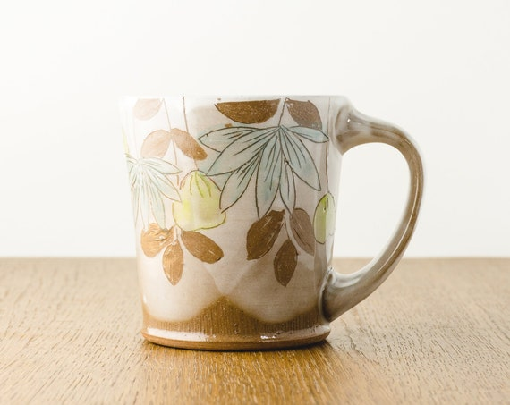 Pottery Mug in Brown and White with a Modern Floral Design, Handmade Gift