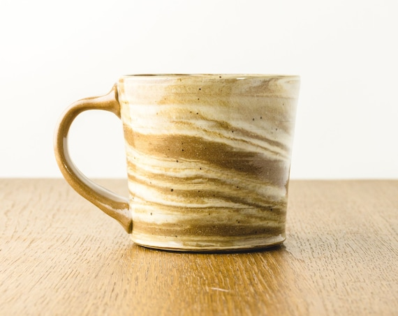 Pottery Mug with Marbled Design , Modern Ceramics, Hostess Gift