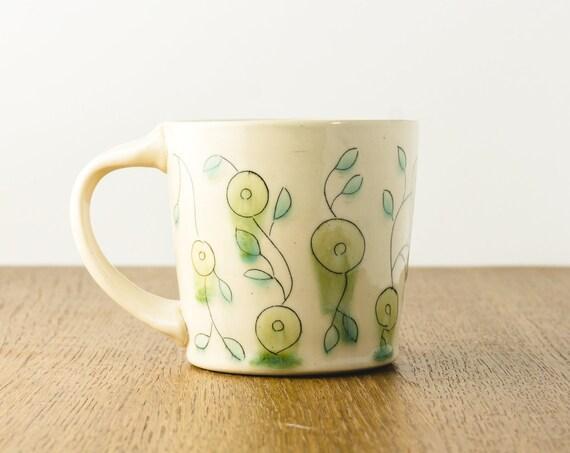 Pottery Mug, Ceramic Mug with Floral Design, Gift for Mom