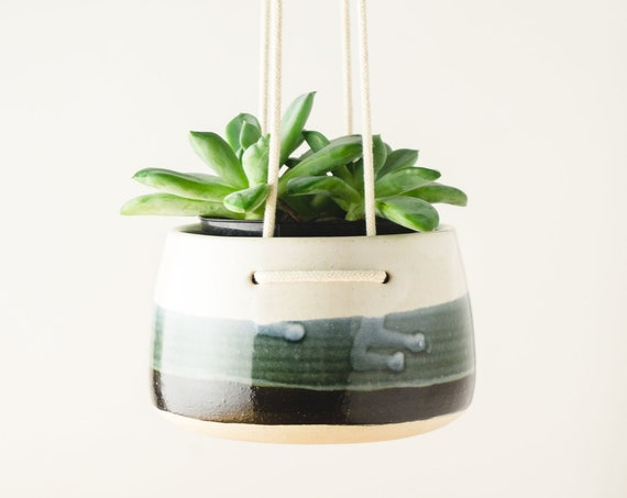 Black and White Hanging Wall Planter for Succulents, White Clay Ceramics Pottery Plant Pot, Gardening Gift, Coworker Gift, Hostess Gift, Mom