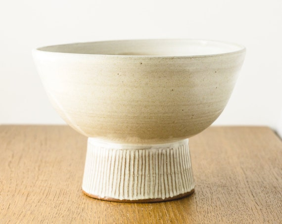 Footed Serving Bowl Centerpiece, Matte White Ceramic Pottery Bowl, Modern Home Decor