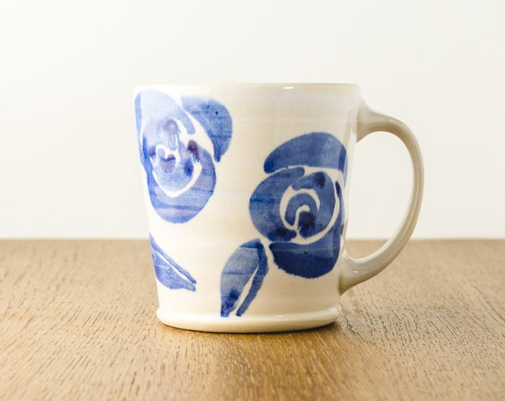 Pottery Mug in Blue Floral Design, Handmade Ceramic Coffee Mug Gift