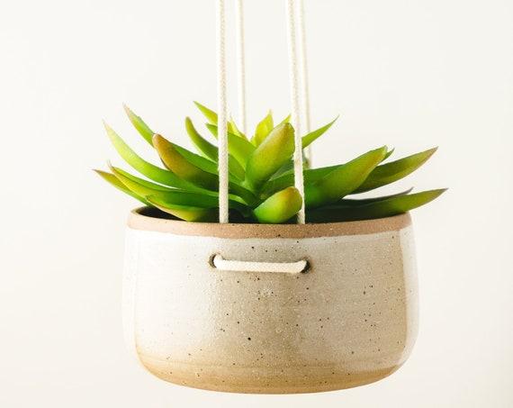 Modern White Hanging Planter, Ceramic Pottery, Succulent Planter, Plant Pot, Cactus Planter, White Ceramics, Gardening Gift, Hostess Gift