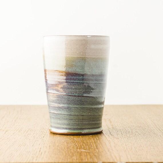 Handmade Pottery Tumbler, Ceramic Beer Pint Glass, Modern Ceramics