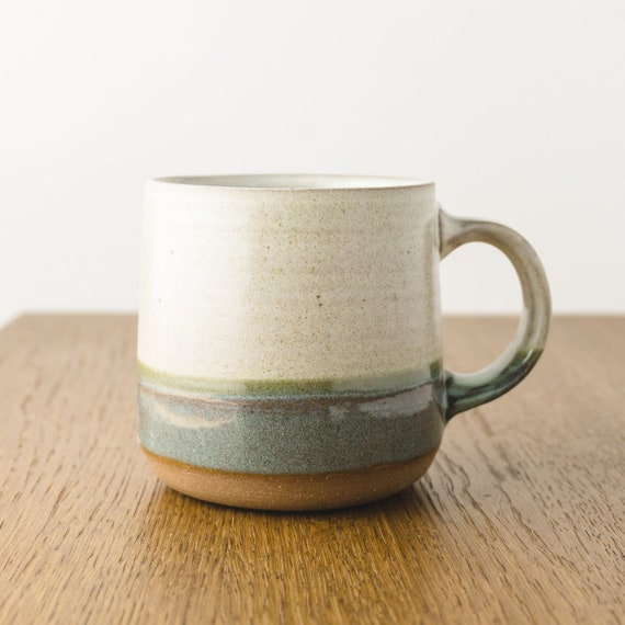 Pottery Mug in Green and Cream White, Handmade Modern Ceramic Cup, Coffee Lover's Gift