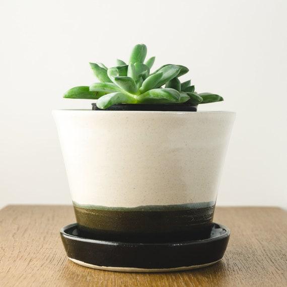 Handmade Ceramic Planter, Medium White Pot with Attached Drip Plate for Succulents, Minimalist Modern Decor Housewarming Gift Gardening Gift