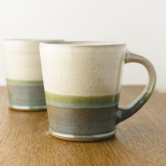 Pottery Coffee Mug in Blue and White , Ombre Dip, Handmade Modern Ceramic Cup, Hostess Gift