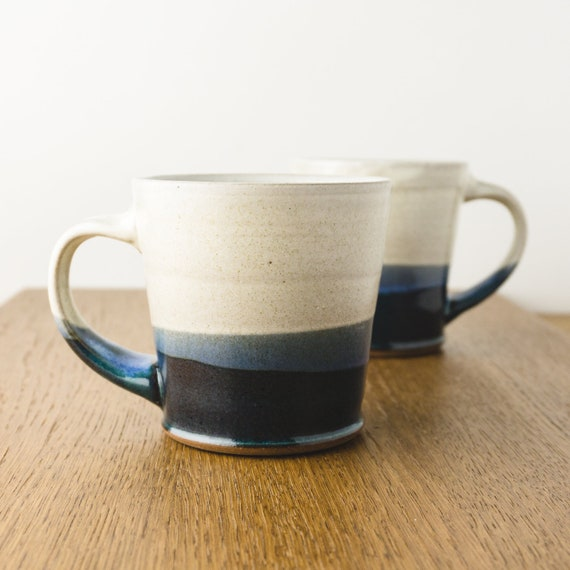 Pottery Mug in Blue and White , Ombre Dip, Handmade Modern Ceramic Cup, Hostess Gift