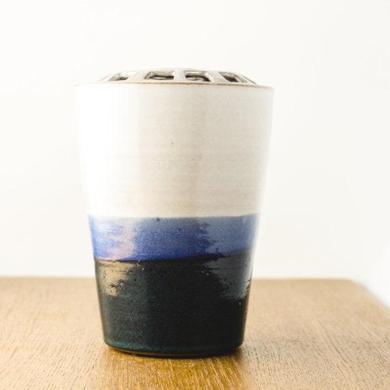 Ceramic Vase, Pottery Vase, Ikebana Vase, Flower Bowl Centerpiece, Grid-Lid Vase for Easy Flower Arranging, Floral Arrangements, Florists