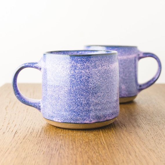 Pottery Mug in Purple Galaxy, Handmade Modern Ceramic Cup, Coffee Lover's Gift