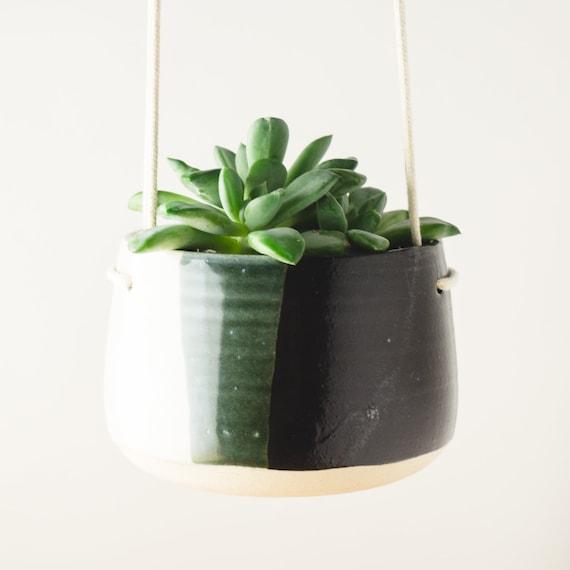 Hanging Planter, Ceramic Planter, Air Plant Holder, Mini Succulent Pot Pottery