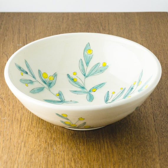 Ceramic Handmade Serving Bowl, Clay Stoneware Pottery Bowl, Mint Blue Yellow Floral Design