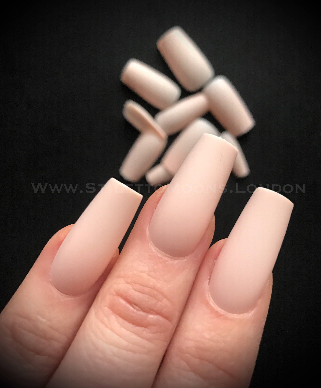 120 pieces - exclusive matte nude peach long curve coffin ballerina ...