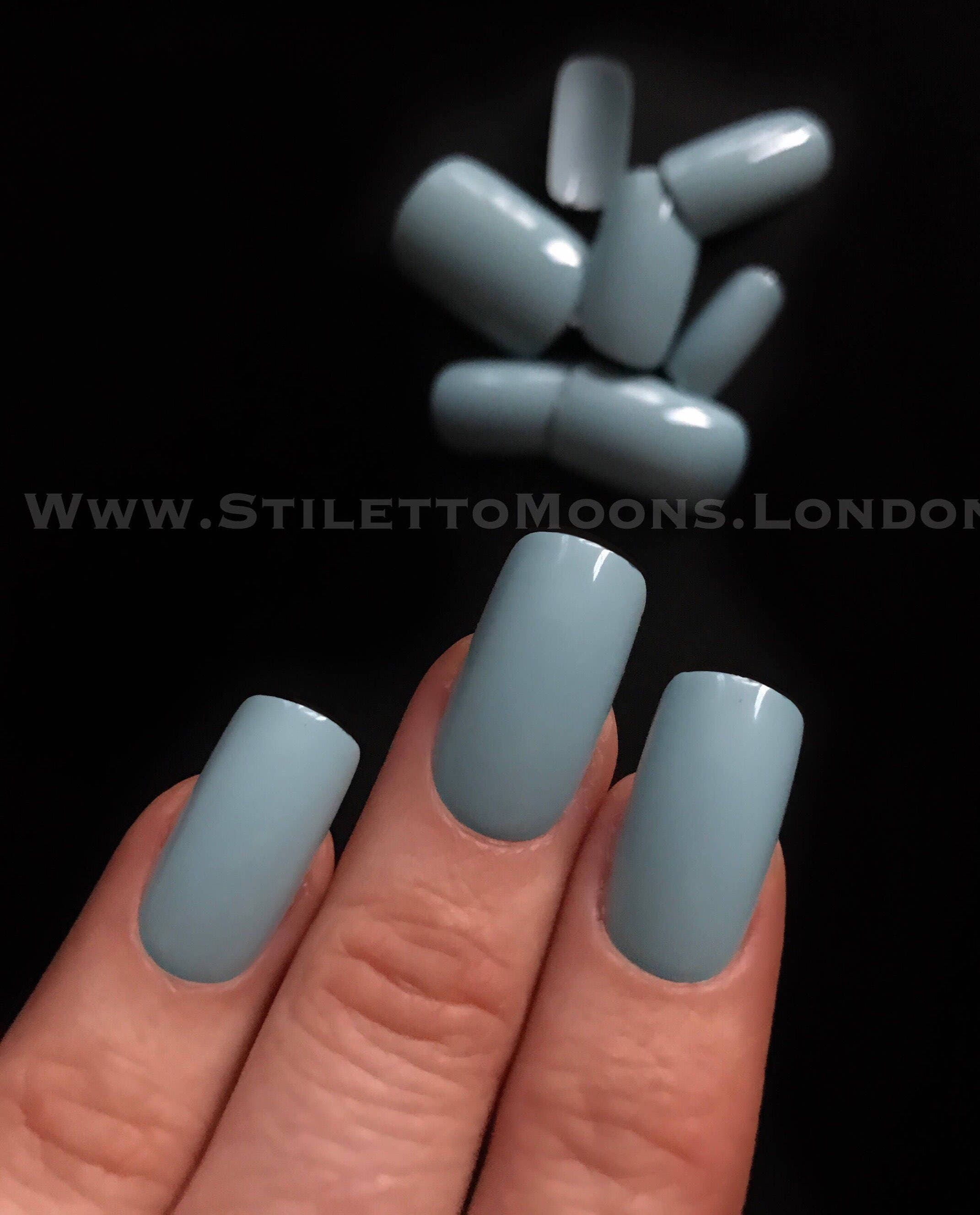 Storm Blue Long square straight style press on false nail set.