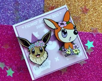 Pokémon Flower Power Enamel Pin Set Nick Galilei X Sugarkittenstudios Collaboration Nintendo Eevee Deerling Cute Kawaii