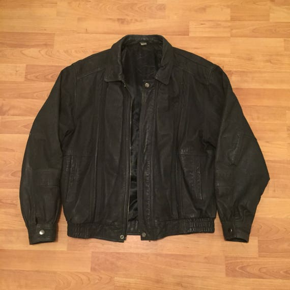 Andre Bini International Classics Leather Motorcycle Vintage Jacket Black Mens Medium