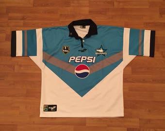 Cronulla Sharks ORIGINAL Sekem Pepsi Vintage NRL National Rugby League Jersey Mens Large