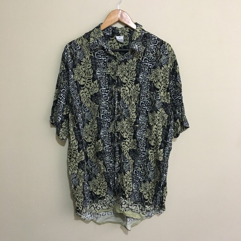 Solutions Abstract Print Vintage 90/'s Button Front Shirt Mens XL