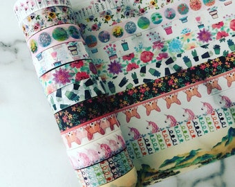 """Full rolls/24"""" samples of assorted washi tape"""