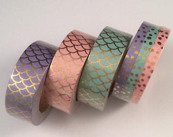 Pastel mermaid foil scales ; skinny foil dots set washi tape