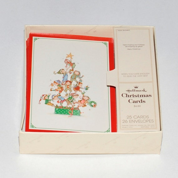 14 Boxed Vintage Hallmark Embossed Christmas Cards With Etsy
