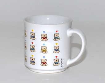 Vintage Sandra Boynton 30 Rainbow Teddy Bear & Heart Coffee Tea Mug