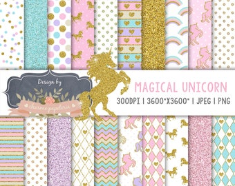 Unicorn digital paper, planner Gold Glitter Unicorn, Magical Unicorn scrapbook papers, pastel papers, Rainbow digital paper, Unicorn clipart