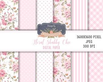 Floral Digital Paper, Pink Floral Paper, Flower Paper, Planner, Roses digital paper, vintage floral, scrapbook paper, shabby chic paper