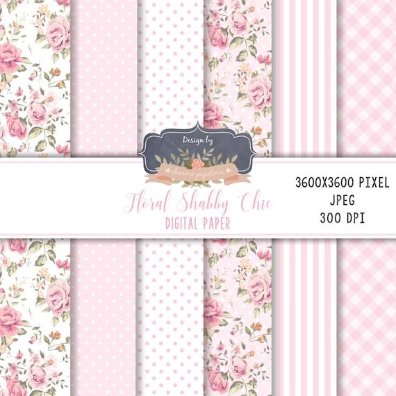Floral Digital Paper Pink Floral Paper Flower Paper Etsy