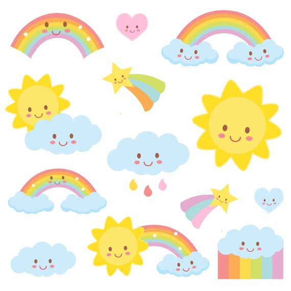 Weather Clipart Rainbow clipart Weather Party COMMERCIAL | Etsy