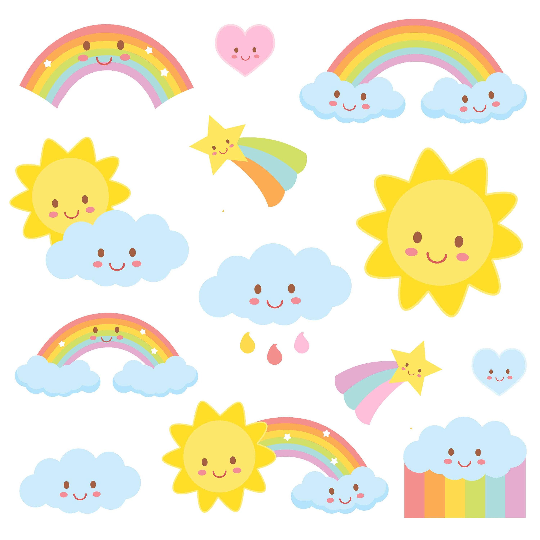 weather clipart rainbow clipart weather party commercial etsy rh etsy com kawaii clipart set kawaii clip art mom