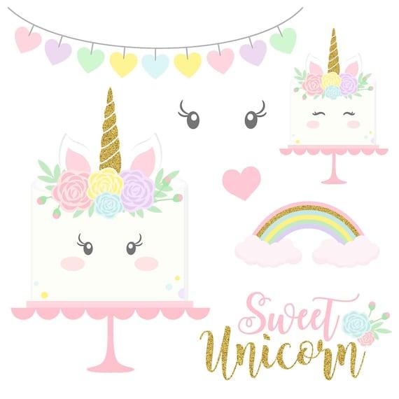 20 Rainbow Unicorn Clipart PNG Glitter Unicorns Clip Art | Etsy